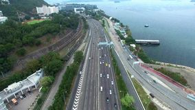 Aerial view of a traffic driving on a motorway
