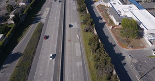 Aerial view of traffic on freeway stock footage