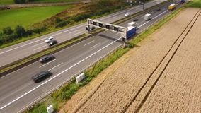 Aerial view of traffic on a highway, drone footage. Aerial view of traffic on a highway - tracking shot, drone footage stock video footage