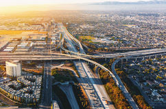 Aerial view of traffic on a highway in LA Royalty Free Stock Images