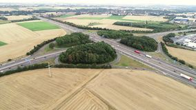 Aerial view of traffic on a highway - tracking shot. Drone footage stock video