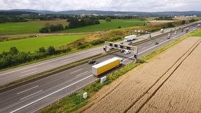 Aerial view of traffic on a highway, drone footage. Aerial view of traffic on a highway - tracking shot, drone footage stock video