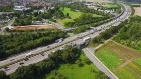 Aerial view of traffic jam on a highway, drone footage. Aerial view of traffic on a highway, traffic jam - tracking shot, drone footage stock video footage