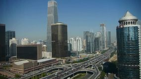 Aerial view of traffic at intersection city,business building district China. stock video