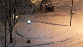Aerial view of traffic intersection covered with snow stock video