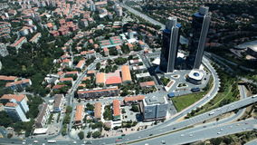 Aerial view of traffic intersection in Istanbul, Turkey. Istanbul, Turkey - June 30, 2012: Aerial view to the traffic intersection in the business district stock video