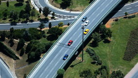 Aerial view of traffic intersection in Istanbul, Turkey stock footage