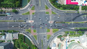 Aerial view of traffic intersection in nanjing,china