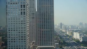 Aerial view of traffic jam at intersection city,business building district China. stock footage