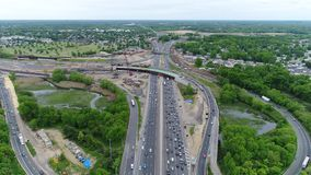 Aerial View of Traffic on Multilane Highway stock video