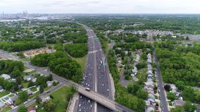 Aerial View of Traffic on Multilane Highway stock footage