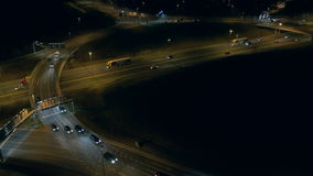 Aerial view - Traffic at night stock video footage