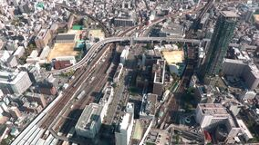 Aerial view of traffic in Osaka, Japan