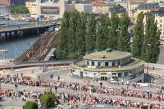 Aerial view of traffic point Slussen during the Stockholm Pride Parade Royalty Free Stock Photos