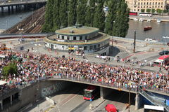 Aerial view of traffic point Slussen during the Stockholm Pride Parade Royalty Free Stock Photo