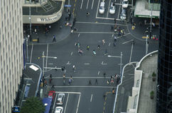 Aerial view of traffic on Queen street  in Auckland New Zealand Stock Image