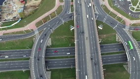Aerial View Of Traffic On The Road.  stock video footage
