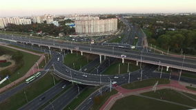 Aerial View Of Traffic On The Road in the city.  stock video footage