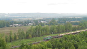 Aerial view Train with Cargo Carriages stock video footage