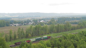 Aerial view Train with Cargo Carriages stock video