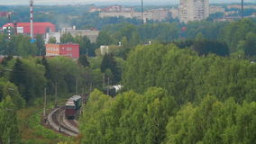 Aerial view Train with Cargo Carriages stock footage