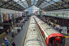 Aerial View of Train Departing from an Underground Tube Station in London stock photo