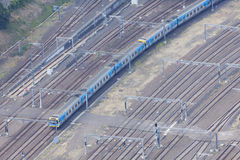Aerial view of train in motion Royalty Free Stock Photography