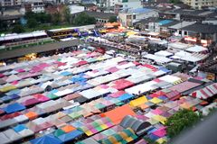 Aerial view train night market bangkok thailand stock photo