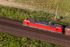 Aerial view of the train and railway track Stock Images