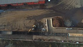 Aerial view on train with scrap stock footage