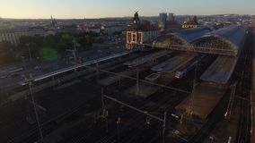 Aerial view of the train station stock video footage