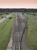 Aerial view of train station in Auschwitz - Birkenau concentration camp Stock Photo