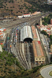 Aerial view train station Portbou in Girona, Costa Brava, Spain Stock Image