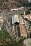 Aerial view train station Portbou in Girona, Costa Brava, Spain Stock Image