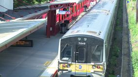 Aerial view of a train station (4 of 4) stock footage
