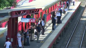 Aerial view of a train station (1 of 4) stock video footage