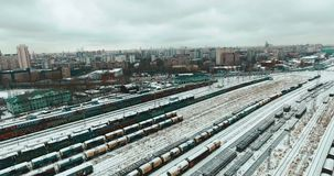 Aerial View of Train Station stock video