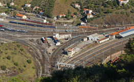 Aerial view of a train station in south of France Stock Photos