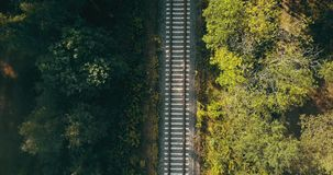 Aerial view of train tracks in autumn forest. Concept of challenging life journey, way to the future, chasing dreams. Aerial view of train tracks in autumn stock video footage