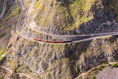 Aerial View Of A Train Which Circling The Mountain. Train Ride, Devils Nose, Nariz Del Diablo, Ecuador, South America, Top View Of The Train Which Circling stock photo