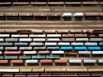 Aerial view of trains stock image