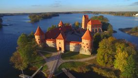 Aerial view of Trakai castle. Beautiful aerial view of Trakai castle stock video