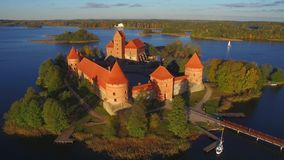 Aerial view of Trakai castle. Beautiful aerial view of Trakai castle stock video footage