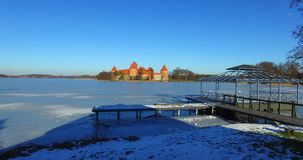 Aerial view of Trakai old castle stock footage