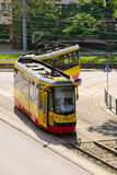Aerial view of tram on May 23, 2016 in Warsaw, Poland. Stock Images