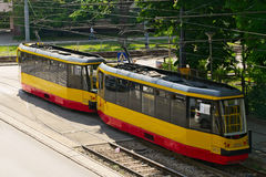 Aerial view of tram on May 23, 2016 in Warsaw, Poland. Stock Photography