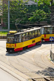 Aerial view of tram on May 23, 2016 in Warsaw, Poland. Royalty Free Stock Photo