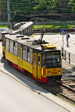 Aerial view of tram on May 23, 2016 in Warsaw, Poland. Stock Image