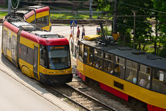 Aerial view of trams on May 23, 2016 in Warsaw, Poland. Stock Photo