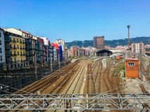 Aerial view of Tran station against the cityscape of Bilbao royalty free stock photography